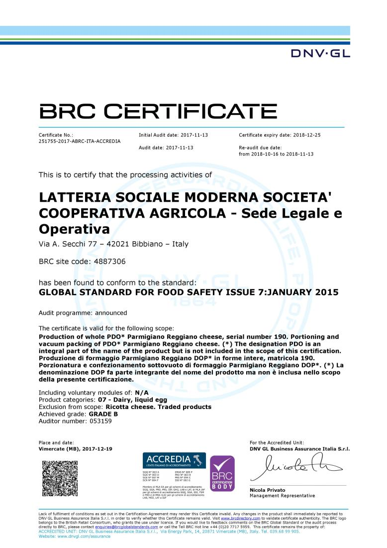 BRC certificate Latteria Sociale Moderna