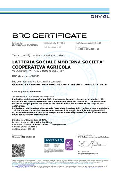 Certificato BRC 2019