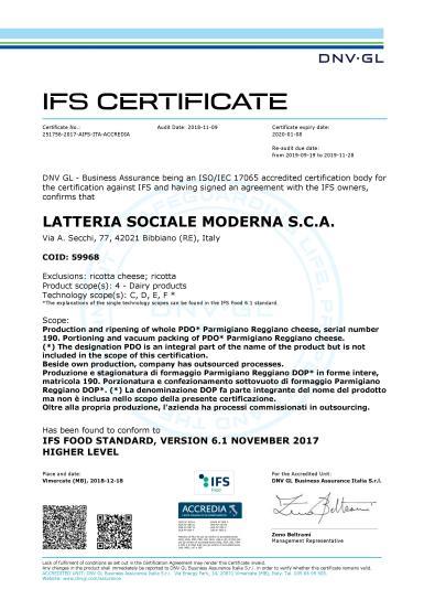 Certificato IFS 2019